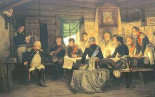 Описание картины алексея даниловича кившенко «военный совет в филях (1812)»