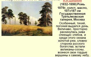 Описание картины ивана шишкина «рожь»