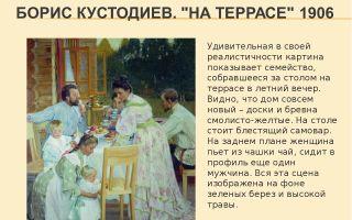 Описание картины бориса кустодиева «на террасе»