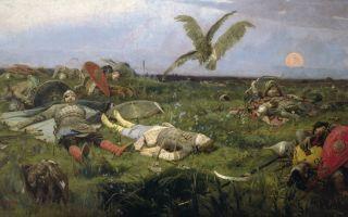 Описание картины виктора васнецова «после побоища игоря святославича с половцами»