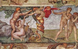 Описание фрески микеланджело буанарроти «грехопадение и изгнание из рая»