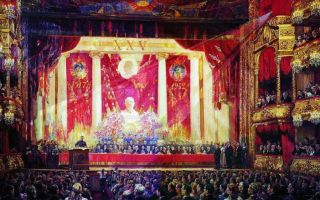 Описание картины александр герасимова «гимн октябрю»