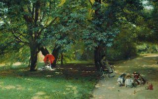 Описание картины константина маковского «в парке»