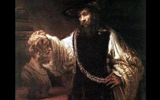 Описание картины рембрандта харменса ван рейна «аристотель»