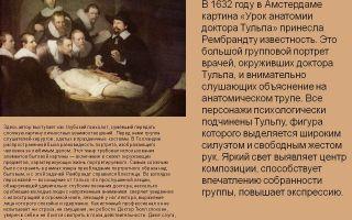 Описание картины рембрандта «урок анатомии доктора тульпа»